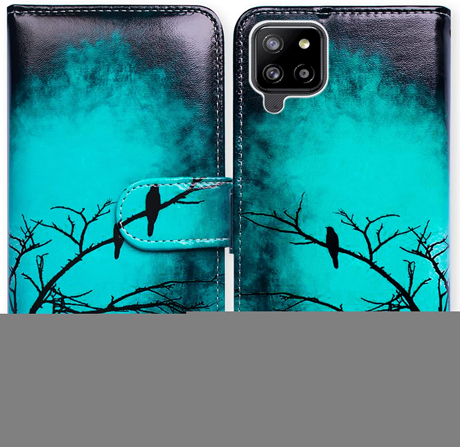 Galaxy A42 5G Case,Bcov Black Bird Green Leather Flip Phone Case Wallet Cover with Card Slot Holder Kickstand for Samsung Galaxy A42 5G 2021