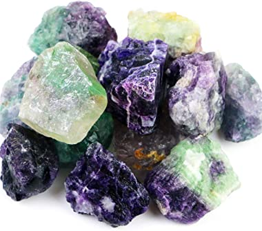 FIREBOOMOON 2lb/950g Rough Natural Fluorite Stone Raw Rainbow Fluorite Gemstone Crystal Rock for Cabbing,Tumbling,Cutting,Pol