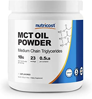 Nutricost Premium MCT Oil Powder .5LBS - Best For Keto, Ketosis, and Ketogenic Diets - Zero Net Carbs, Non-GMO and Gluten ...