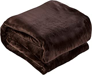 Luxury Collection Microplush Flannel Fleece Blanket | Ultra Soft 380 GSM Lightweight All-Season Anti-Static Throw/Blanket for Sofa Couch Bed (King (102'' x 90''), Dark Chocolate)