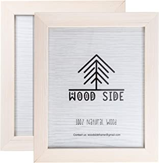 Rustic Wooden Picture Frames 8x10 - White - Set of 2-100% Natural Eco Solid Wood and High Definition Real Glass for Wall Mounting Photo Frame