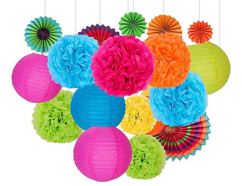 Happy Birthday Decorations Party Supplies, Set of 26 Rainbow Color Paper Pom Poms, Paper Folding Fans and Paper Lanterns, 5 Colors, for Decorating Party, Shop or Wedding
