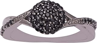 Infinity Semi Mounted 925 Sterling Silver Wedding Band Ring Black Spinel