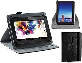 Navitechブラックフェイクレザーハードケースカバー360回転スタンド付きのまったく新しいFire 7タブレットwith Alexa、7インチディスプレイ、8GB、ブラック、パンチブラック、Marineブラック、カナリアイエロー