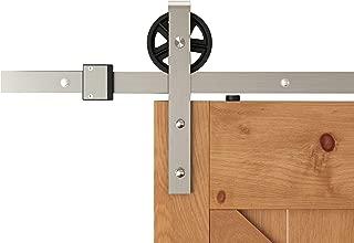 DIYHD TSQ15SN 8FT Brushed Nickel Industrial Spoke Wheel Steel Sliding Barn Door Hardware