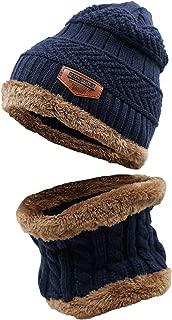LLmoway Kids Winter Warm Fleece Knit Beanie Hat Circle Scarf Set for Boys Girls