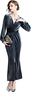 Women's 90s Retro Velvet Ruched V-Neck Long Bodycon Split Formal Evening Gown