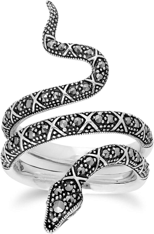Gemondo Marcasite Ring, Sterling Silver 0.50 Marcasite Art Noveau Snake Ring