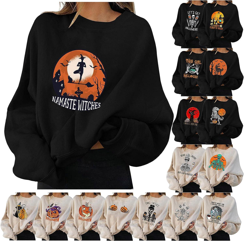 Women Sweatshirts Teen Girls Casual Long Sleeve Cartoon Pumpkin Print Sweater Halloween Skull Hoodie Pullover Tops
