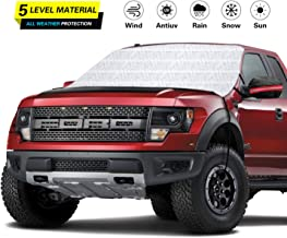 GreatParagon Car Windshield Snow Cover Sunshade, Waterproof,5-Layer Protection Snow, Ice, Frost,UV Full Defense, Fits Most Car Truck SUV Van, Mirror Covers Included