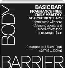Body Barrier Basic bar Fragrance Free Daily Healthy Soapnutrient Soap Bars, 2 Pack, 7.06 oz