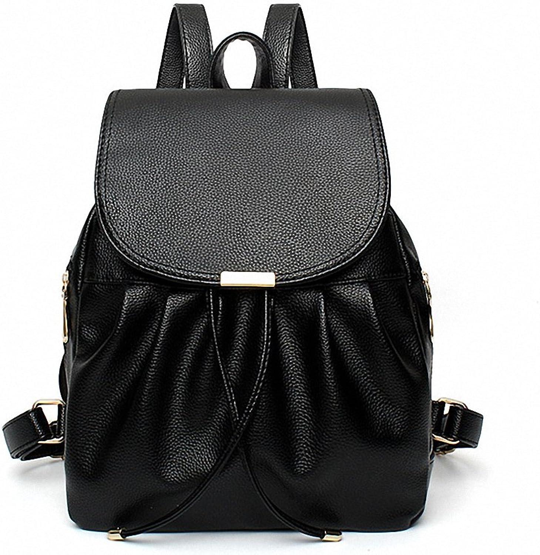 Womens School Backpack for Teenagers Female Leather Black Fashion Student Bags for Girls Designer Luxury Backpacks 01black