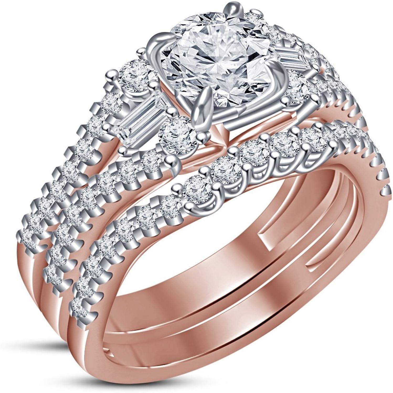 Vorra Fashion Damen 2-Ring, Brautschmuck-Set, mit weien Zirkonia