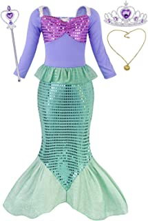 HenzWorld Little Mermaid Costumes Dress Ariel Halloween Princess Birthday Party Cosplay Accessories 1-12 Years