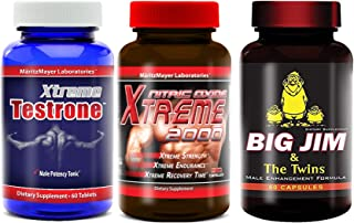 Xtreme Testrone Testosterone Booster & Nitric Oxide Xtreme 2000 Booster L Arginine Improve Strength Recovery Muscle Growth & Big Jim & The Twins Male Enhancement All Natural Formula