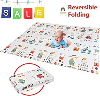 "Folding Play Mat | BPA Free Non-Toxic Foam Baby Care Playmat 【6.6FT x 5FT】 0.4"" Thick Extra Large Reversible Crawling Mat Portable Toddlers Kids Waterproof Non-Slip Activity Tummy Time"