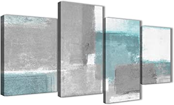 Wallfillers Large Teal Gray Painting Abstract Bedroom Canvas Wall Art Decor - 4377-51in Set of Prints