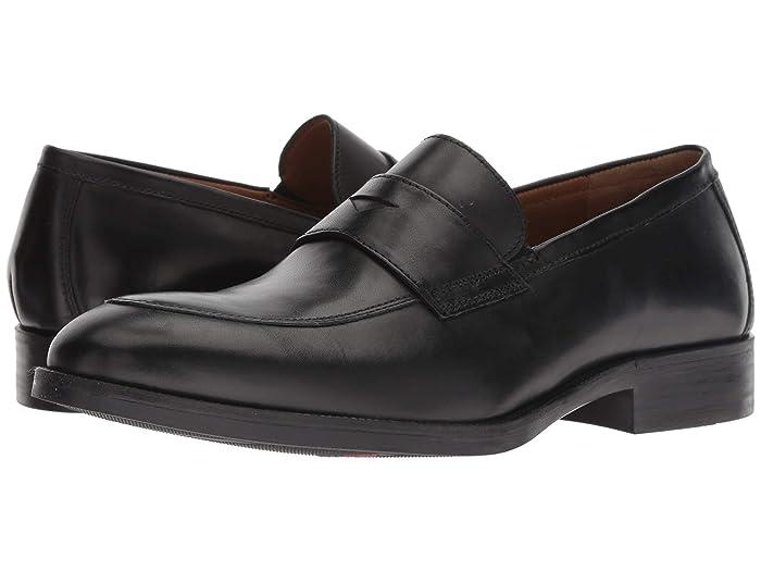 Johnston and Murphy  Alcott Penny (Black Calfskin) Mens Slip-on Dress Shoes