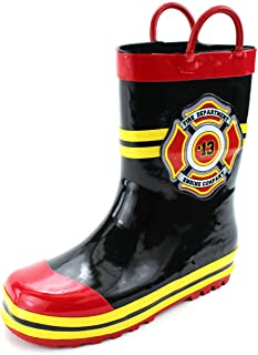 Fireman Firefighter Boys Girls Costume Style Rain Boots (Toddler/Little Kid)