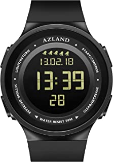 AZLAND Multiple 5 Alarms, Water Resistant Snorking Watch, Swimming Mens Watch Digital Sports Wrist Watch Waterproof Outdoors Multi Functions Teenagers Watches