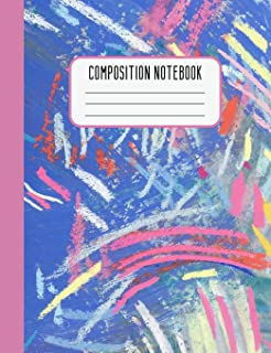 Composition Notebook: College Ruled Composition Notebook Pink Blue Design for Girls Women Teens Blank Lined Journal
