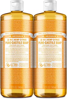 Dr. Bronner's - Pure-Castile Liquid Soap (Citrus, 32 ounce, 2-Pack) - Made with Organic Oils, 18-in-1 Uses: Face, Body, Ha...