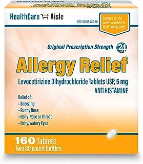 HealthCareAisle Allergy Relief Levocetirizine Dihydrochloride Tablets, USP | 24 Hour Allergy Relief | 5 mg | 160 Count