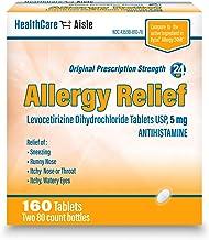 HealthCareAisle Allergy Relief Levocetirizine Dihydrochloride Tablets, USP   24 Hour Allergy Relief   5 mg   160 Count