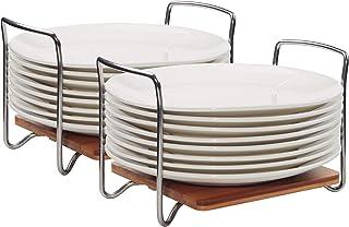 E-ROOM TREND Porte-Assiettes Organisateur de Vaisselle Taille réglable 2 pièces, étagère de Rangement en Bambou avec poign...