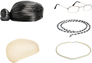 Zivyes Old Lady Costume Granny Wig,Wig Cap,Madea Granny Glasses,Eyeglass Chains,Pearl Beads Accessories for Dress up