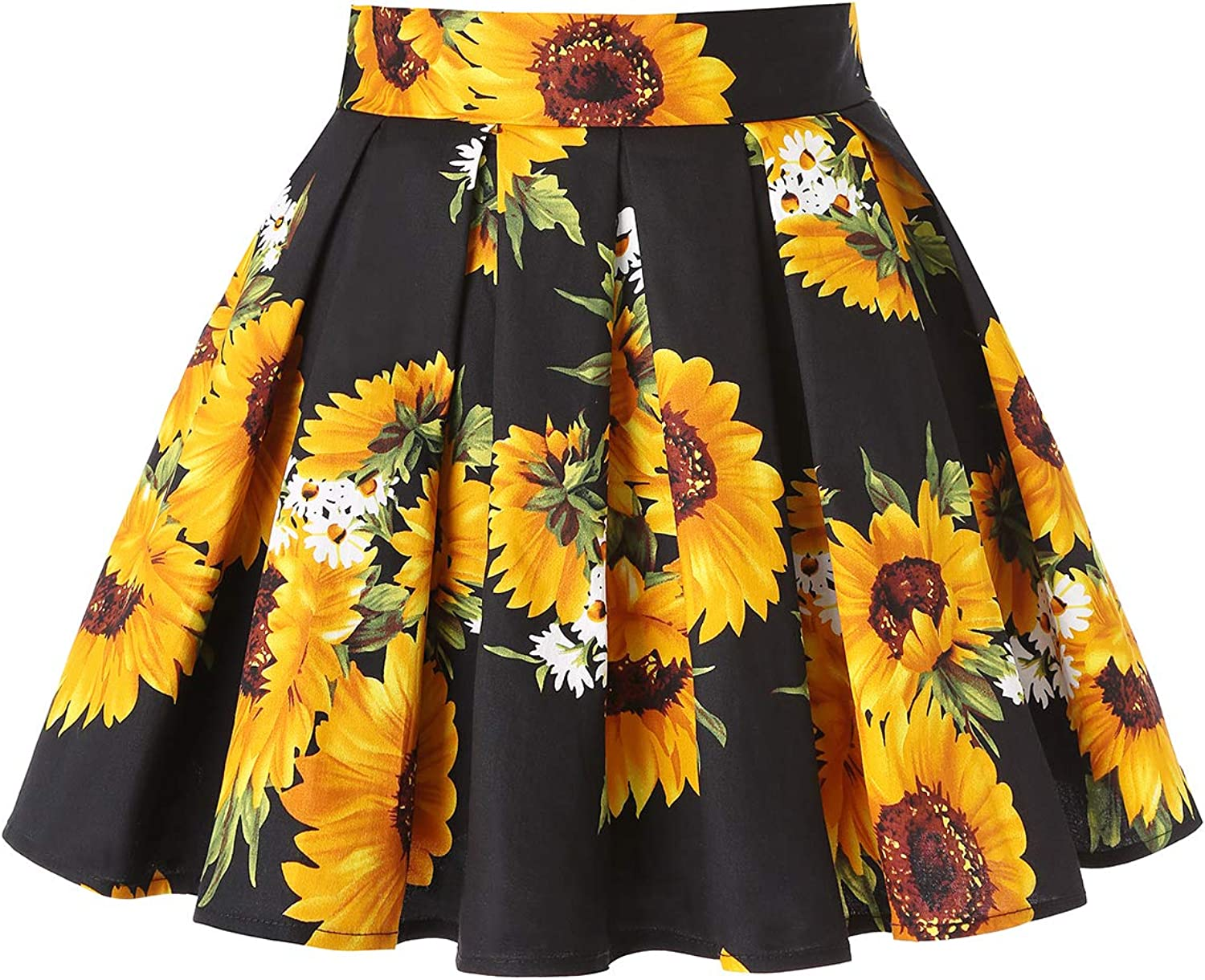 MINTLIMIT 1950's Vintage Pleated Skirt A-line Retro Floral Printed Mini Skirts with Pockets