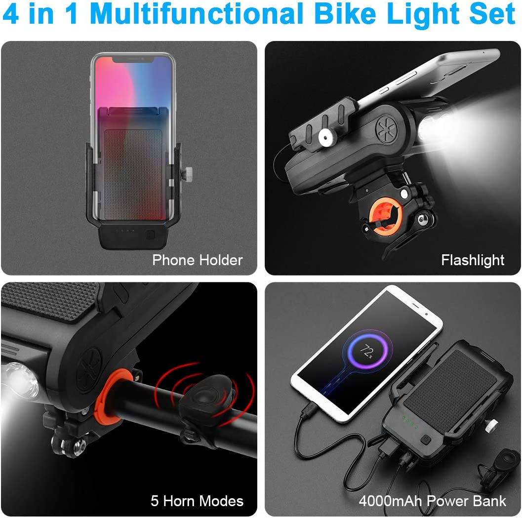 Lively Life 4 in 1 Bike Light USB Rechargeable Multifunction Bicycle Headlight with Mobile Phone Holder 4000 mAH Power Bank 130 dB Horn 550 Lumens IPX4 Waterproof Bicycle Front Lights-Black
