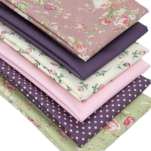 Fat Quarter Fabric Bundle LILAC VINTAGE ROSE FLORAL Polycotton Material Remnant