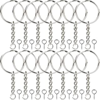 Onwon 100 Pieces Metal Split Key Ring 1 Inch / 25mm with Chain and Open Jump Ring and Screw Eye Pins Nickel Plated Keychain Parts and Connector Round Pendant Accessories for DIY