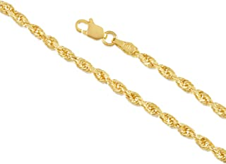 14K Gold 1.5MM 2MM 3MM 4MM 5MM Rope Chain Necklace and Bracelet for Men and Women (Unisex), Hollow - Braided Twist Gold Chain Necklace, 14K Gold Necklace, 14K Rope Chain, 14K Gold Chain 7