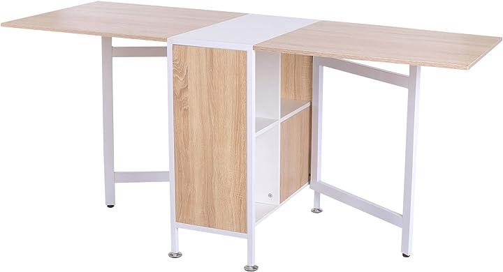 Tavolo multiuso design pieghevole con 4 scompartimenti 169 × 62 × 75cm homcom IT833-4090631