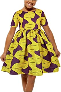 Novia's Choice Toddler Girls Ethnic Ankara Bohemian Dashiki African Print Swing Bubble Dress