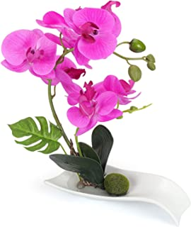 YOBANSA Decorative Real Touch Silk Orchid Bonsai Artificial Flowers with Imitation Porcelain Flower Pots Phalaenopsis Fake Flowers Arrangements for Home Decoration (Rose Red)