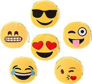 OOTSR 6 Piezas Monedero de Felpa Emoji, 11cm Bolsa de