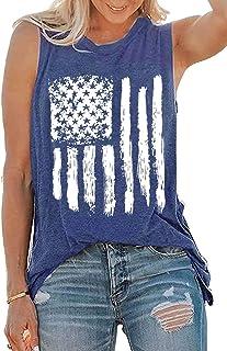 TIFENNY Women Srtipe Print O-Neck Sleeveless Blouse Vest Fashion Tank Tops Independence Day American Flag Shirts