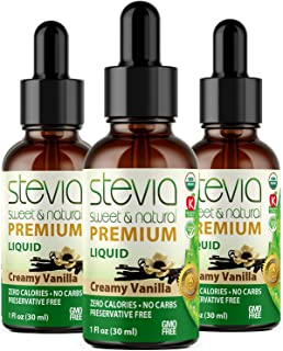 Sponsored Ad - (3 Pack ) CREAMY VANILLA PREMIUM QUALITY STEVIA DROPS| ORGANIC LIQUID STEVIA SWEETENER| BEST SUGAR SUBSTITU...