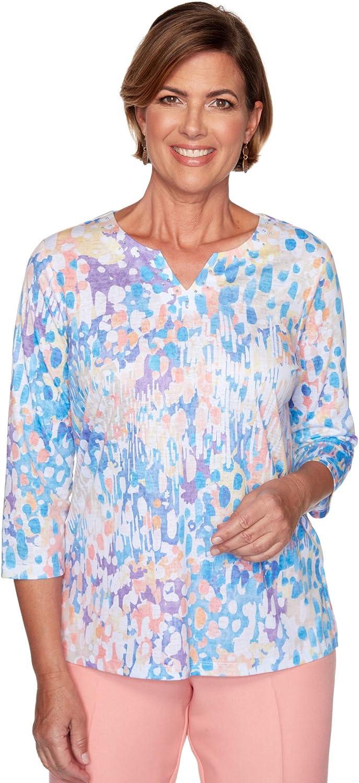 Alfred Dunner Women's Brushstroke Dot Printed Burnout Knit Top