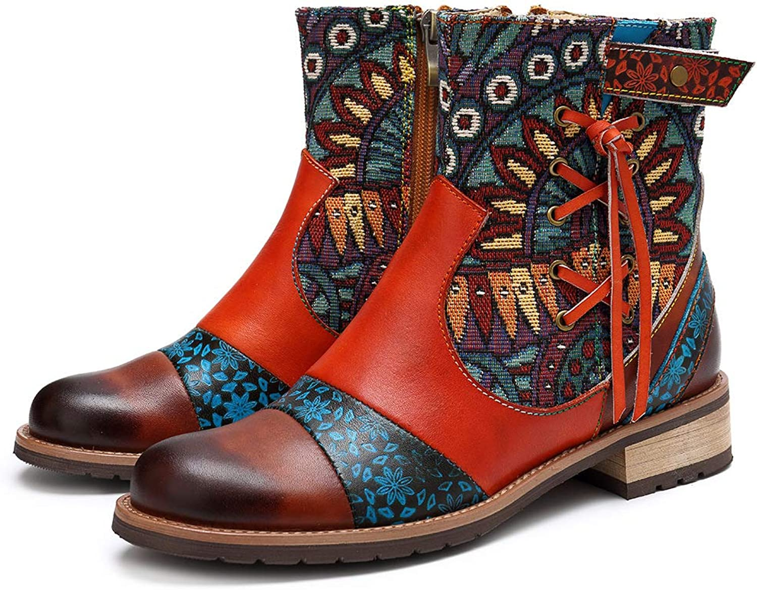 HUIYA Bohemian Style Fashion Ladies Boots colorful Leather Print Ladies Women's Boots Cowboy Boots Ladies shoes Red