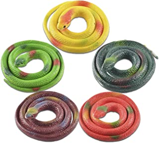 3 Pieces Rubber Snakes for Garden Props to Scare Birds Kid April Fools Day Halloween Party Decorations Black Large Realistic Mamba Snake Toy 31.49 Inches