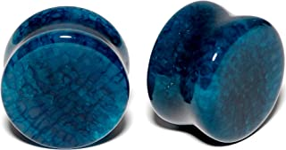Body Candy Unisex 2PC Organic Solid Blue Stone Saddle Plugs Double Flare Plug Set Ear Plug Gauges