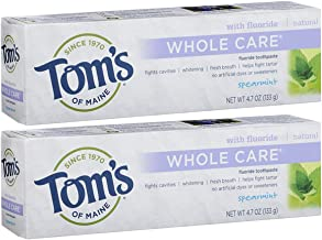 Tom's of Maine Whole Care Fluoride Toothpaste, Natural Toothpaste, Whitening Toothpaste, Spearmint, 4.7 Ounce, 2-Pack