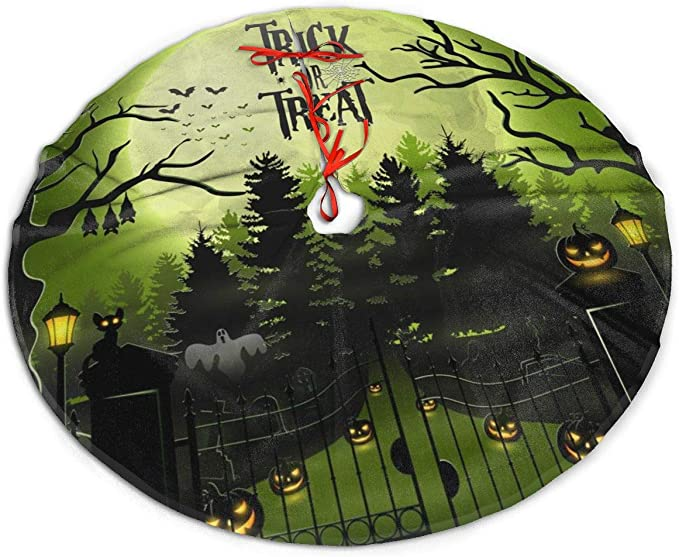 New Year Festive Party Decoration YUERF Creepy Graveyard with Castle and Pumpkins 30 Christmas Tree Skirt