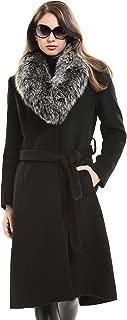 ladies long black cashmere coat