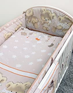 Plain Heart 5 Pcs Embroidered Baby Nursery Bedding Set To Fit Cot Cot Bed
