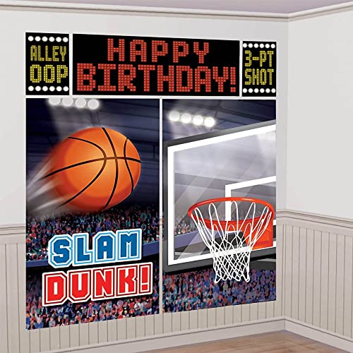 amscan Basketball Dream Birthday Party Scene Setters Wall Decorating Kit (5 Piece), Black, 14.5 x 10